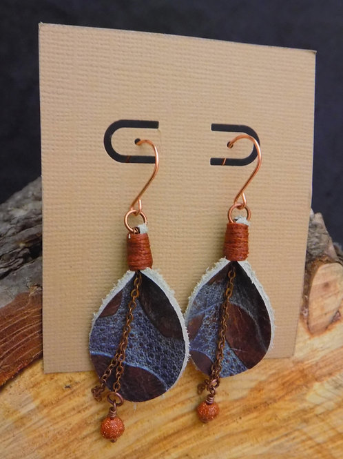 Brown Leather Petal Earrings with Moonstone Beads