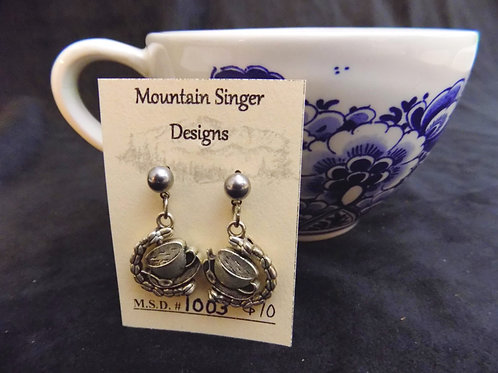 Silver Coffee Cup Double Sided Stud Earrings