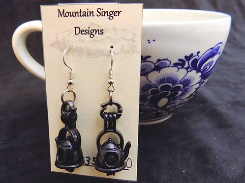 Black Tea Pot Earrings with Essential Oil Beads
