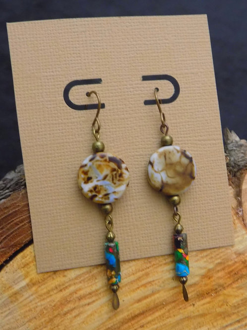 Marbled Bead Earrings with Antique Brass Accents