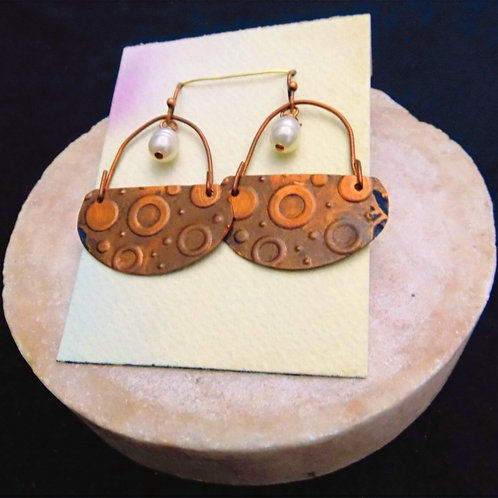Copper Stamped Patina Earrings with baroque cultured pearls