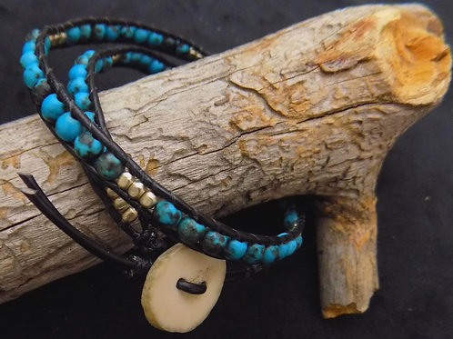 Double Wrap Turquoise Bracelet with Antler