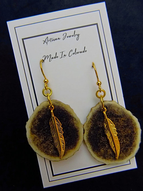Antler Earrings with Gold Plated Feather