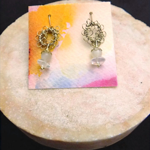 Silver Filigree Earrings with Moon Stone Beads