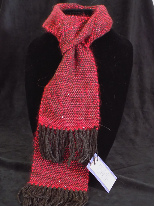 Handwoven Red & Grey Scarf with Sequins