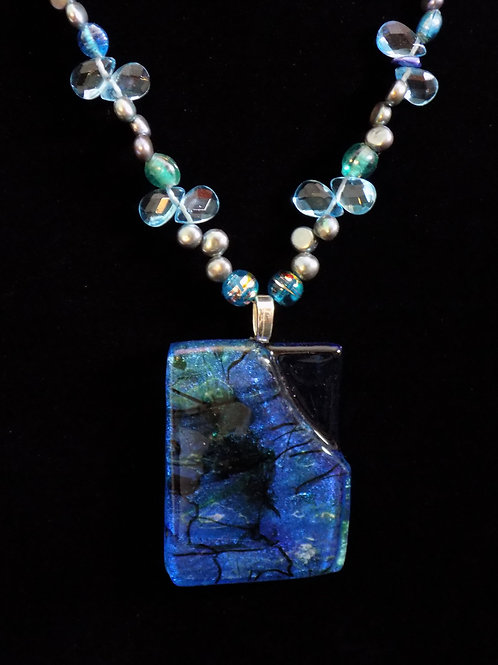 Spring Ice Fused Glass Necklace