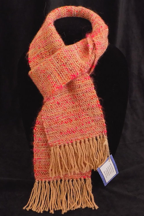 Handwoven Pink & Orange Scarf with Metallic