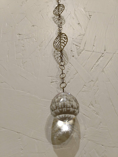 Brass Leaves and Crystal Sun Catcher