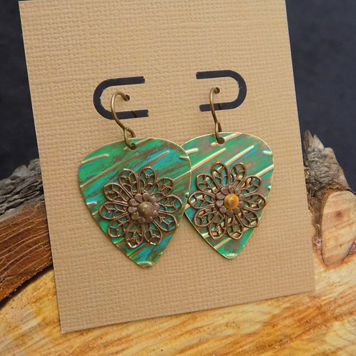 Embossed Brass Earrings with Green Patina & Flowers