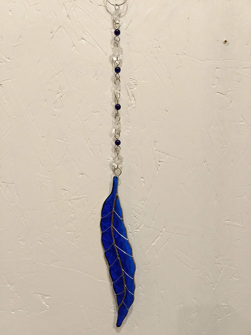 Colbalt Feather Stained Glass Sun Catcher with Crystals