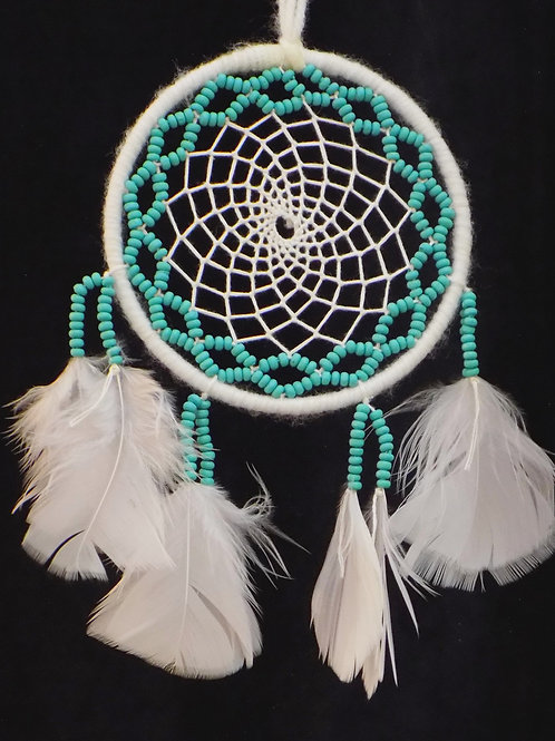 """4"""" White Dreamcatcher with Turquoise Blue Beads"""