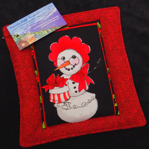 Silly Snowman Red Potholder