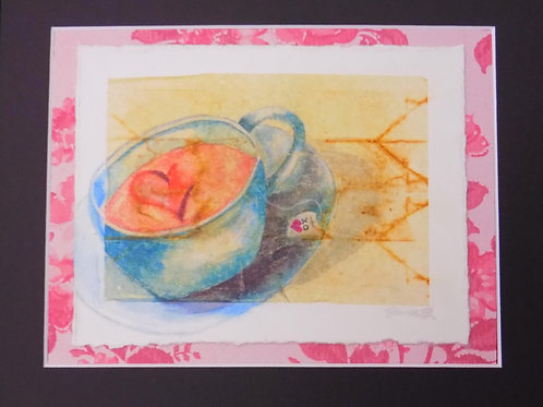 Matted Tea Bag Art: Pretty Pink