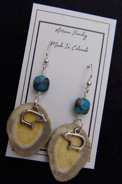 Antler Earrings with Turquoise & Pewter Bear