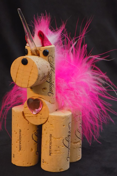 Cork Unicorn Ornament: Pink