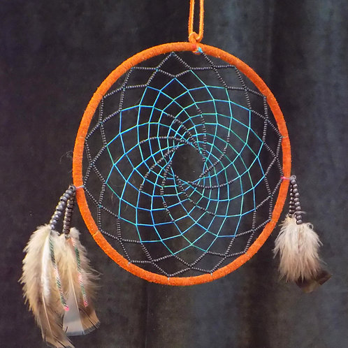 """10"""" Brown Dreamcatcher with Blue String & Black Beads"""