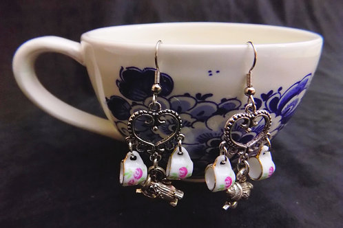 Rose Tea Set Earrings with Silver Hearts