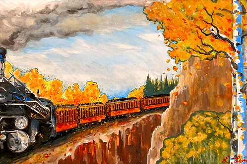Fall Train Ride - Original Acrylic Painting