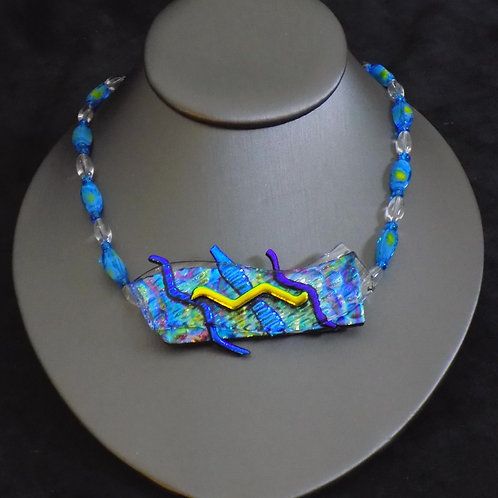 Ocean Currents Fused Glass Necklace