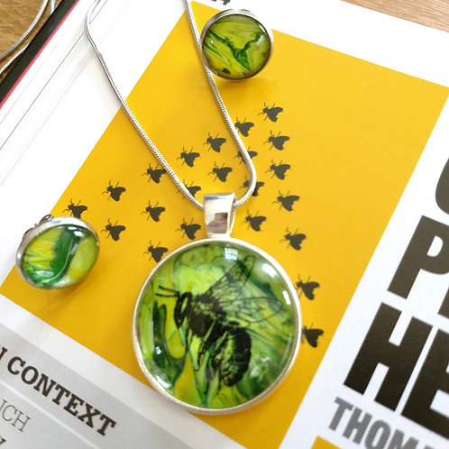 Bumble Bee Acrylic Pour Paint Jewelry Set