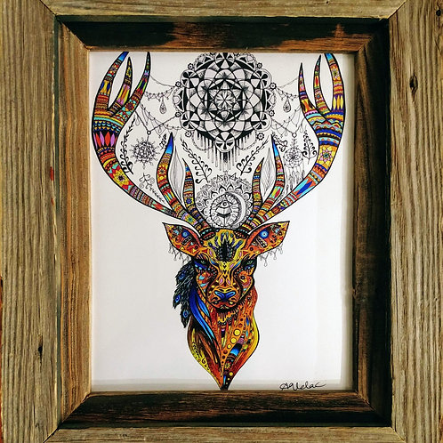 Framed Psychedelic Dream Catcher Deer
