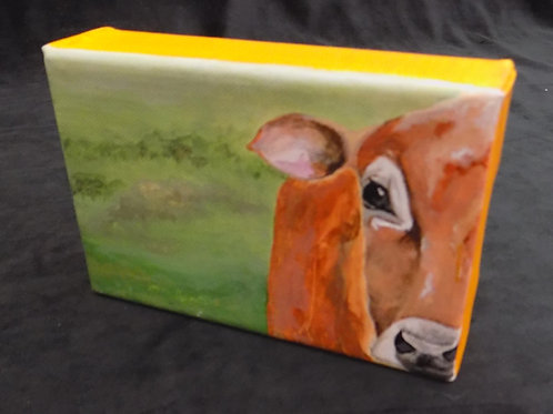 Mini Original Painting: 'Peeking Cow'