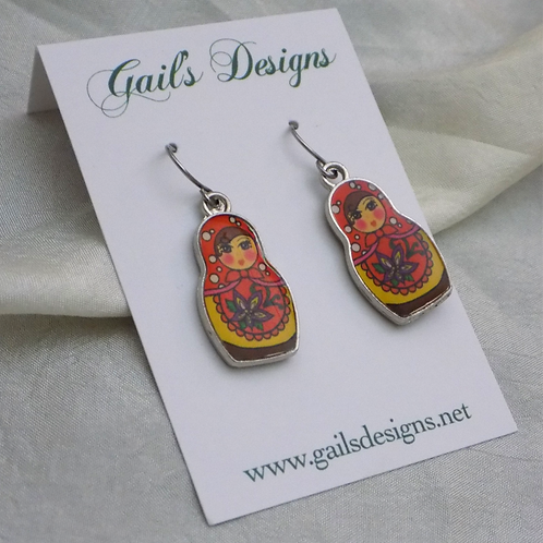 Yellow Babushka Earrings
