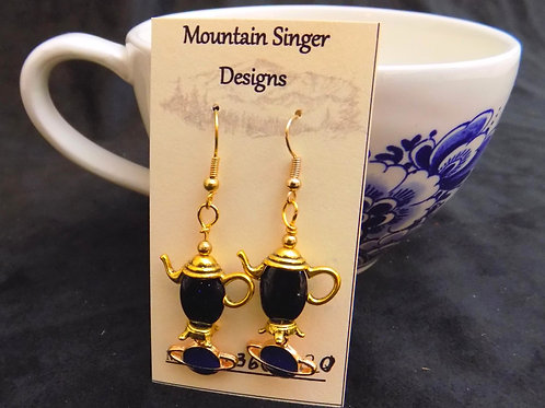 Gold Tea Pot Earrings with Blue Moonstone Beads and Planets