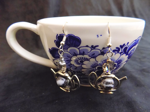 Silver Tea Pot Earrings with Marble Bead and Crystal Butterflies