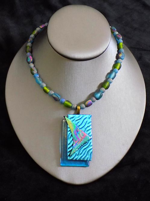 Ocean Breeze Fused Glass Necklace