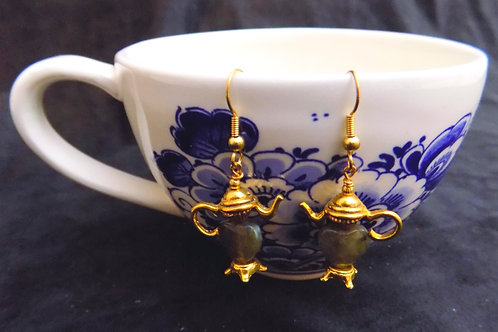 Gold Tea Pot Earrings with Moss Agate