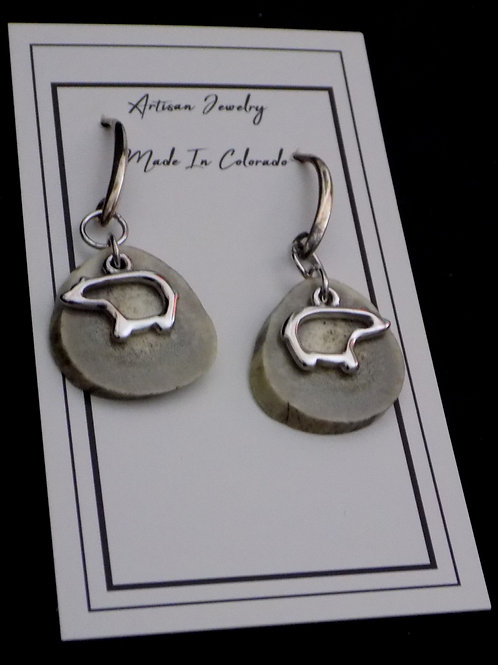 Antler Earrings with Sterling Silver Bear