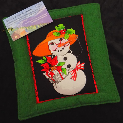 Silly Snowman Green Potholder