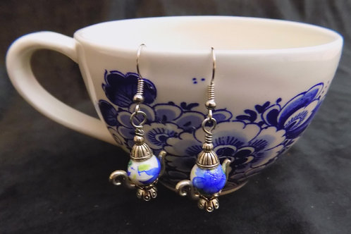 Silver Tea Pot Earrings with Hand Painted Beads