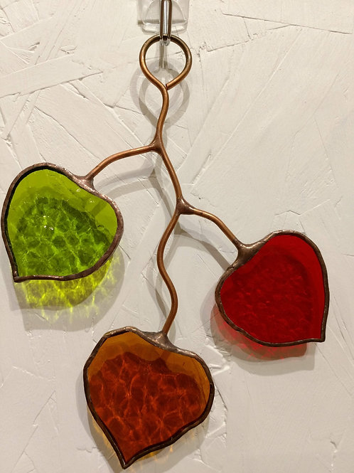 Small Aspen Leaf Stained Glass Sun Catcher
