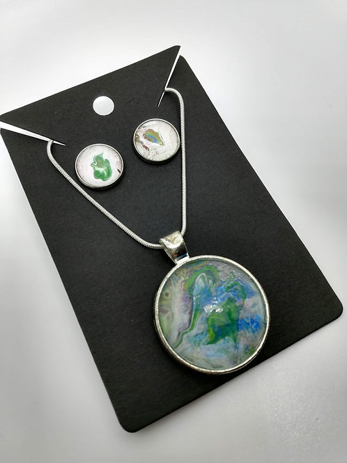 Acrylic Pour Paint Jewelry Set