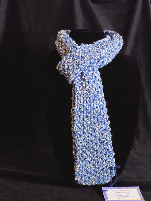 Knit Blue Scarf with Metallic