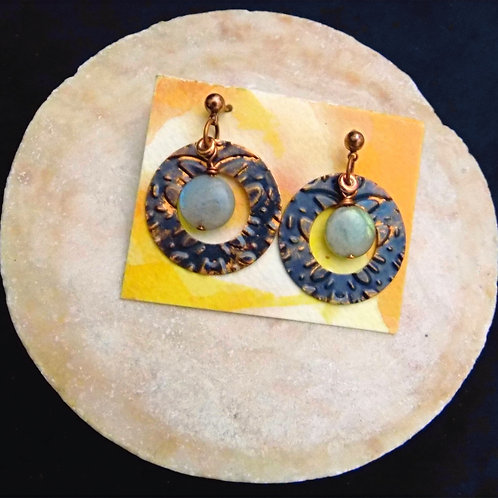 Stamped Patina Copper Earrings with Labradorite