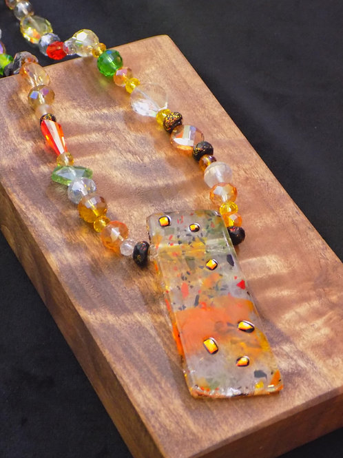 Crystal Clear Fused Glass Necklace