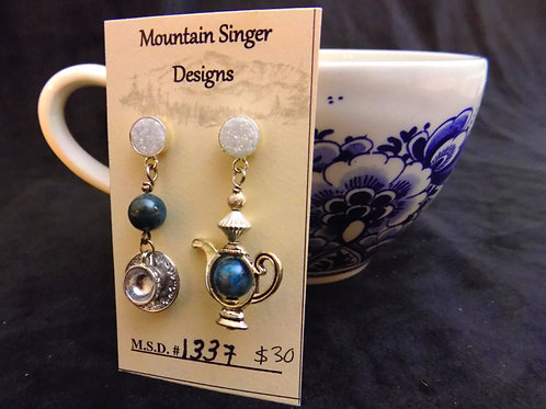 Blue Apatite Stone Beads Tea Set Stud Earrings