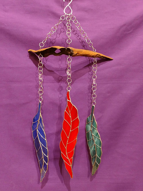 3 Feathers Stained Glass Sun Catcher