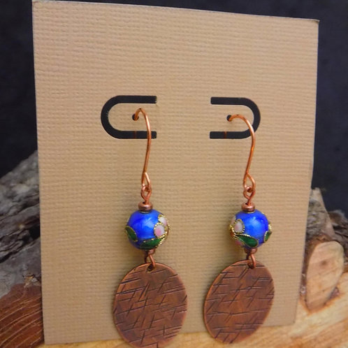 Textured Copper Earrings with Cloisonnee Beads