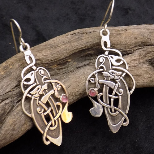 Celtic Hound Earrings with Amethyst