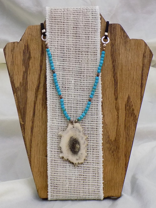 Antler Necklace with Colorado Turquoise on Suede Cord