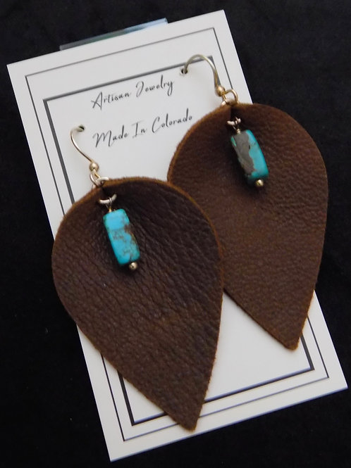 Brown Leather Earrings with Turquoise Bead