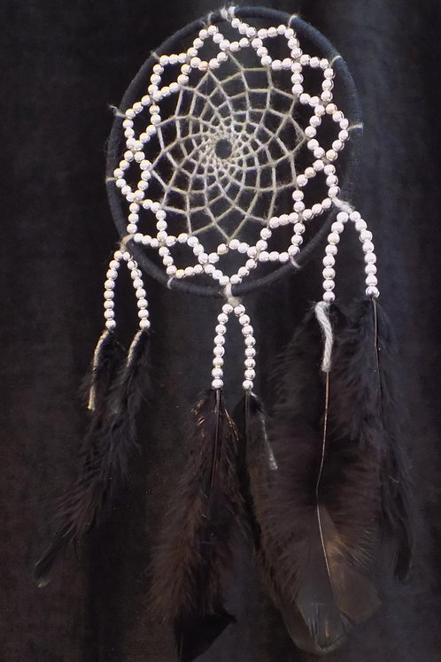"6"" Black Dreamcatcher with Silver Beads"