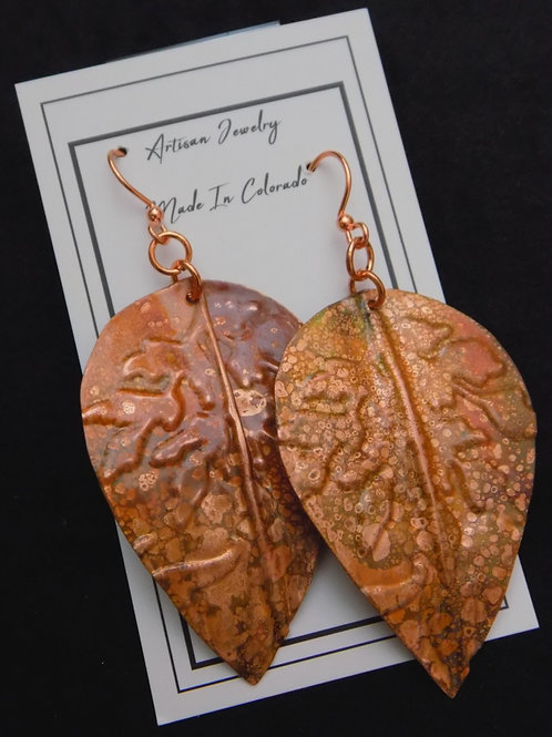 Stamped Copper Earrings