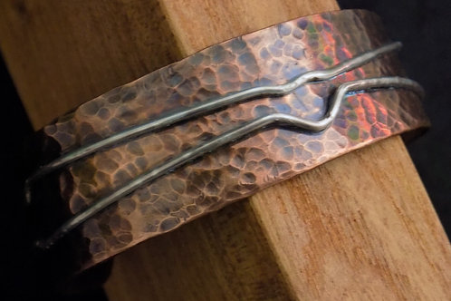 Hammered Copper Bracelet with Sterling Silver