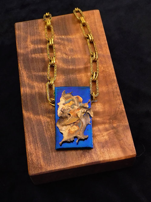 Bronze Splatter on Dichro Glass Necklace