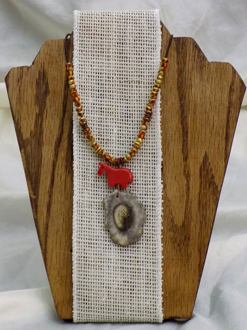 Antler Necklace with Coral Horse on Suede Cord with Gemstone beads